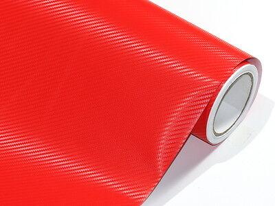 3D Rot Carbonfolie Auto Folie 50 cm x 152 cm Blasenfrei Luftkanäle D38