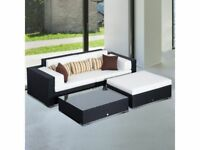 **FREE & FAST UK DELIVERY** Garden Rattan Furniture Sofa Lounger with Stool in Black
