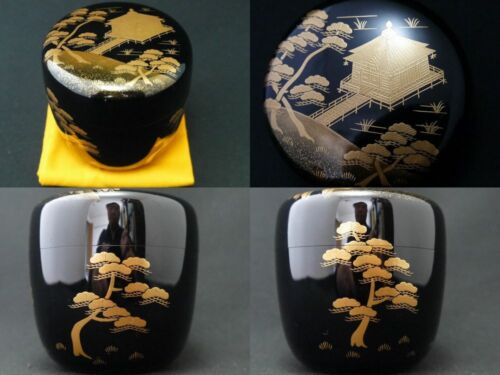 Japanese Traditional Lacquer Wooden Tea caddy Ukimidō makie Chu-Natsume (310)