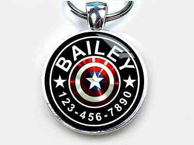 Hund Captain America (Captain America Custom Superhero tag round single side Pet ID Cat Dog Tags)
