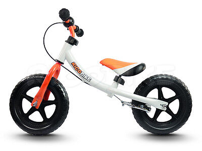 Kinderlaufrad Metallrahmen V-BRAKE EVA Reifen 29 cm Ricobike RC-303 weiss-orange