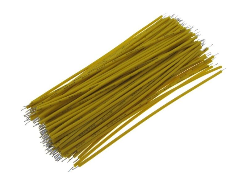 【5CM】 28AWG Standard Jumper Wire Pre-cut Pre-soldered - Yellow - Pack of 100