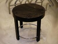 Black coffee table with chromed metal ring