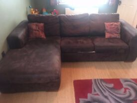 DFS Suede effect brown sofa bed