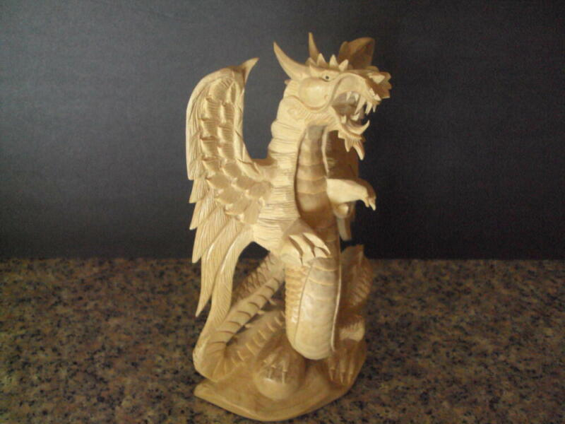 Stunning Dragon Resin Sculpture  Looks Like Carved Wood Great Detail ID:67796