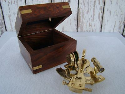 "3"" Polished Brass Sextant w/ Wooden Box ~ Sextent Astrolabe ~ Nautical Maritime"