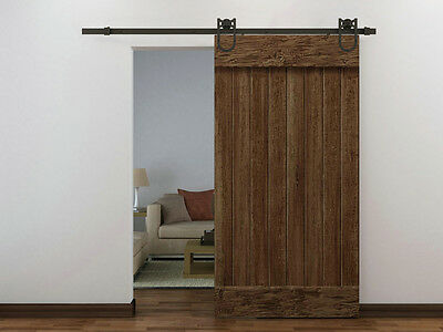 6FT Dark Coffee Antique Style Barn Wood Steel Sliding Door Hardware Set American