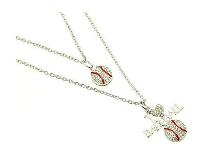 Sports Strand Necklace - Double Stranded I Love Baseball Link Necklace in Silvertone ~ Gift Idea!