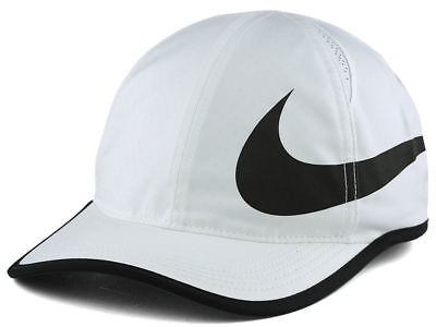 db270382475 NIKE Dri-Fit Featherlight white hat cap Running Tennis Golf adjustable NWT