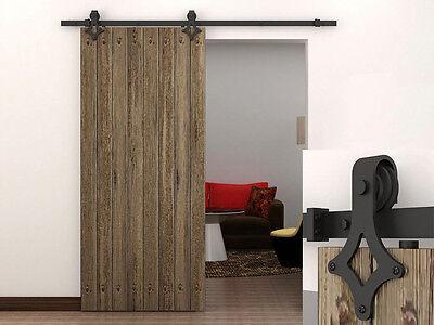 6 FT Dark Coffee Country Barn Wood Steel Sliding Door Closet Hardware Track Set