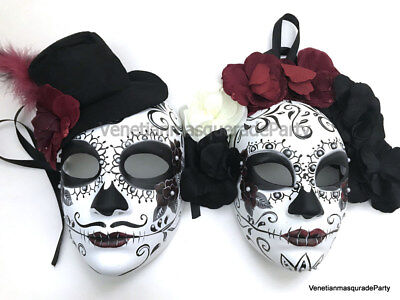 Black Red Masquerade Pair Full Face Mask Day of the Dead Costume Wear or Deco - Black Face Mask Costume