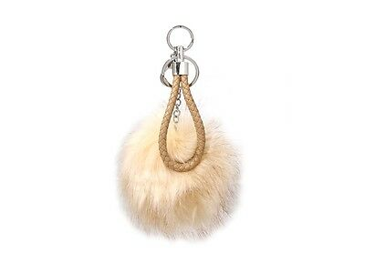 Large Fur Pom Pom Keychain with Matching Leather Cord ~ Great Gift Idea! ~ -