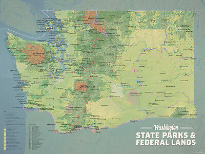 Washington State Parks   Federal Lands Map 18X24 Poster  Natural Earth   536