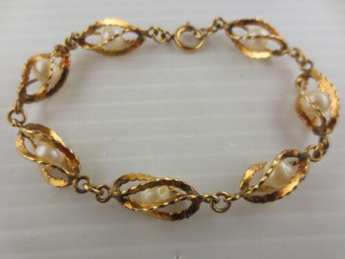 Vintage Gold Filled Faux Pearl Center Open Spiral Link Bracelet 12K GF