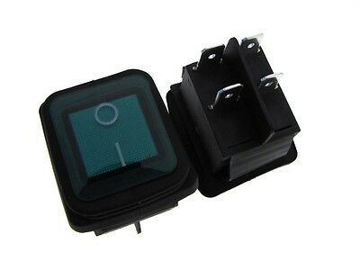 4-pin 16a 125vac Waterproof Rocker Switch On-off Panel Mount Snap-in - Green