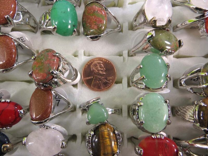 lot of 10 mixed color gemstone and agate stone fashion rings