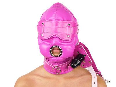Isolationsmaske mit Knebel Ledermaske Leder Maske Pink rosa Art.Nr. 3141