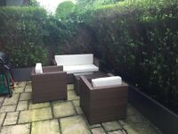 4 Piece garden furniture set including cushions, glass top on table, high spec
