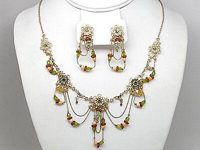 9f Vintage Drape Green Flower Swarovski Elements Crystal Floral Necklace Set -