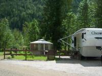 Fenced RV lot with FULL SERVICE near Mable Lake, BC