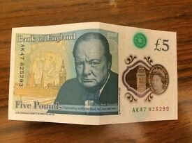 VERY RARE £5 NOTE, AA01 SERIAL