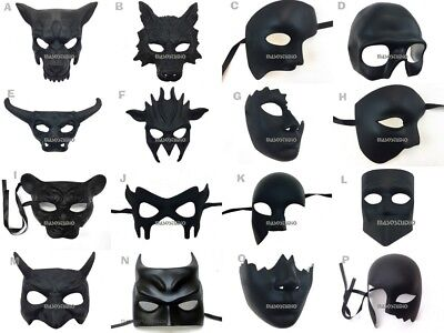 Unpaint Blank Bulk Black DIY Doctor Nose Lion Wolf Phantom Bat Masquerade Mask (Black Blank Mask)