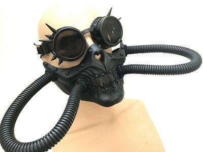 NEW Steampunk wasteland Halloween Costume Prom Goggles Gas Mask Skull w Hoses](Costume Gas Mask)