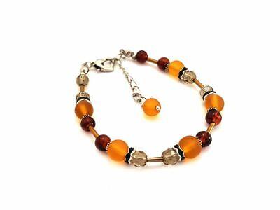 Designer Glasperlen Armband, Perlen, Bernstein Farbe, Handarbeit (S354) ()