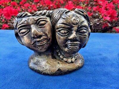Antique RAKU Man & Woman STUDIO HANDCRAFT POTTERY Incense Burner Ash Tray VASE