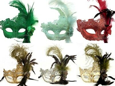 Mardi Gras Masquerade Ball Prom Christmas New Year Cosplay Prom Party Lace Mask - Mardi Gras Feathers