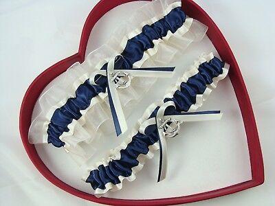 New Navy Blue Ivory Anchor Wedding Garter Prom - GetTheGoodStuff - Prom Garter