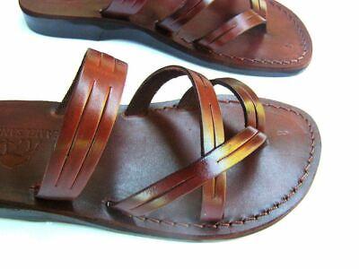 Jerusalem Biblical Jesus Slip On Sandals Brown Leather Strap for Women HANDMADE
