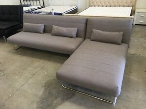Brand New Light Grey Fabric Corner Sofa Bed with Chaise Clayton Monash Area Preview