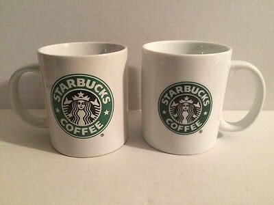 Pair of Starbucks Classic White Cafe Restaurant Coffee Mugs Cups Glasses