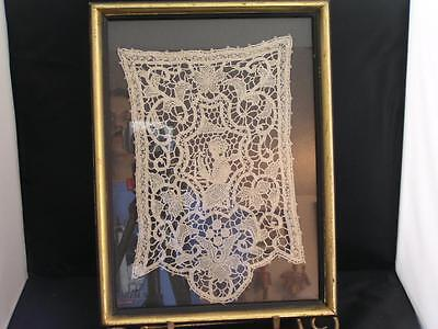 Italian Ponte Venise Figural Ivory Lace: Kneeling Maiden in Glass Fronted Frame