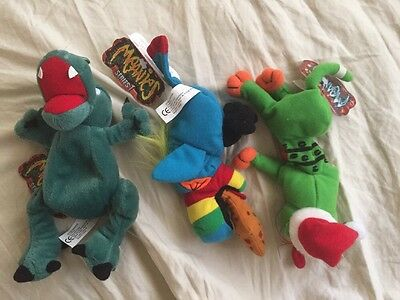 Lot Of Three Series 1 Meanies (cat, Dragon, Parrot)