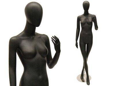 Female Adult Full Body Fiberglass Egg Head Satin Black Fashion Mannequin