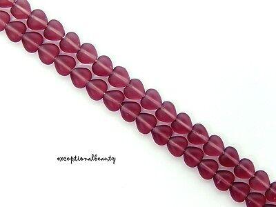 - 50 Amethyst Frost Preciosa Czech Pressed Bohemian Glass 6mm Puffed Heart Beads