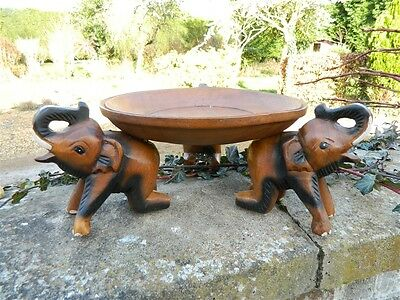 Wooden Elephant Carving - Hand Carved Tray Table Bowl Plant Stand - Small