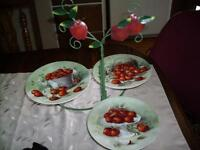 APPLE DECOR=  3  DISH TOWER FOR SWEETS