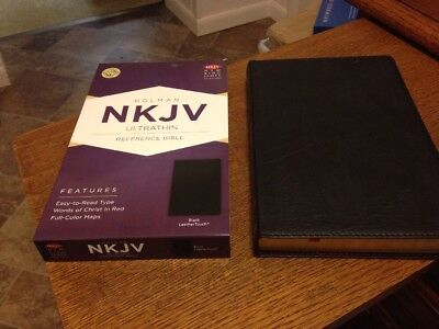 New  Black Holman Nkjv Ultrathin Reference Bible  Thinline  Leather Touch