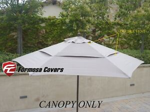 Double Vented Patio Replacement Umbrella Canopy 9ft 6 Rib Taupe (Canopy Only)