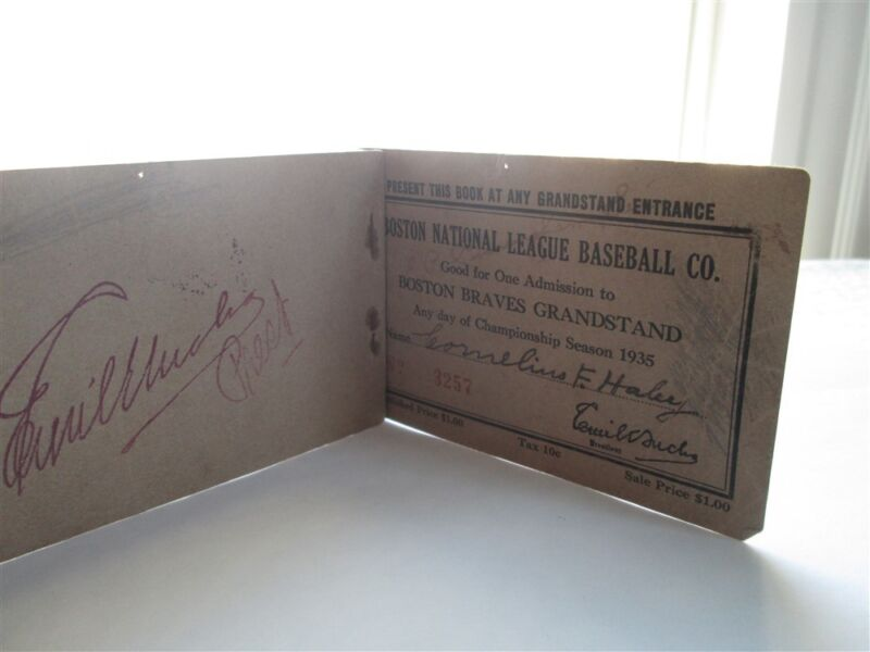 1935 Babe Ruth Nl Debut/hr 709 Ticket Pass Book Boston Braves Opening Day Hubbel