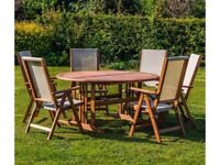**FREE & FAST UK DELIVERY** Kingfisher 7-Piece Garden Hardwood Round Table & Chairs Set