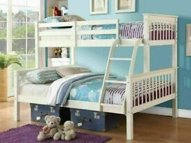🔵💖SUPERB QUALITY🔵🔴Kids Bed Trio Wooden Bunk Bed In Multi Colors Optional mattress