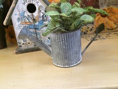 MINI Galvanized Watering Can Rustic Tin Planter Vase Basket Primitive Country