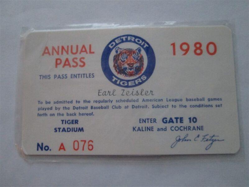 1980 Ticket Pass Detroit Tigers  Trammell 9 HR/.300 BA/ Jack Morris 16  Win HOF