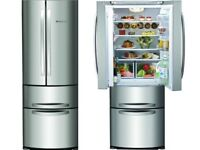 HOTPOINT AMERICAN FRIDGE FREEZER STAINLESS STEEL LIKE NEW VERY GOOD CONDITION WITH GUARANTY