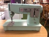 Vintage Singer 338 Electric Sewing Machine - Turquoise Blue