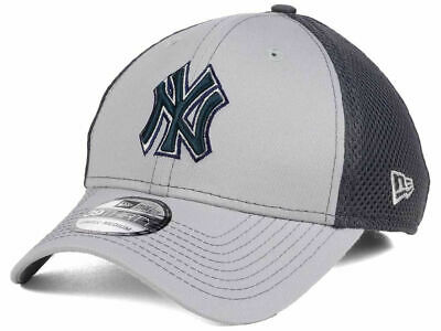 New York Yankees MLB Gray Neo Mesh Back Flex 39THIRTY Baseball Cap Hat Men